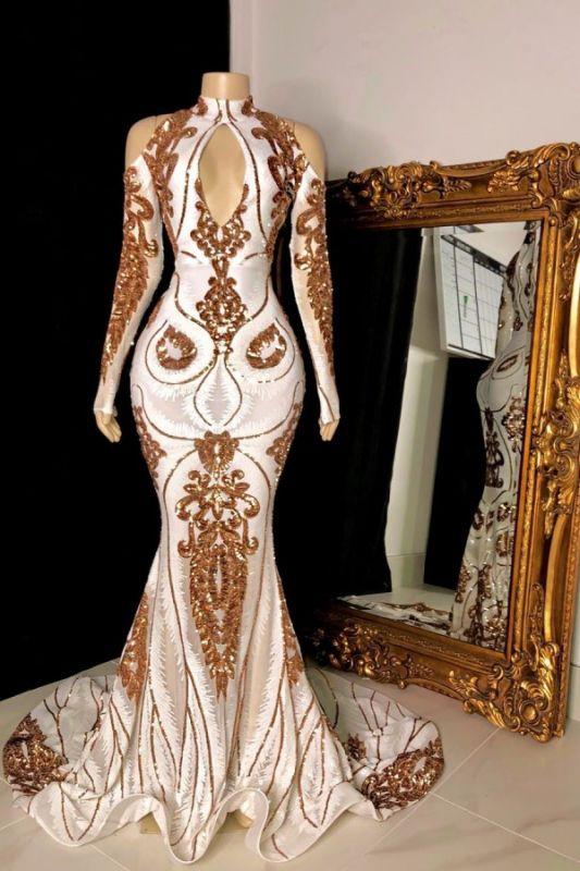 Luxury Long Sleeve Keyhole Neckline Mermaid Long Prom Dresses