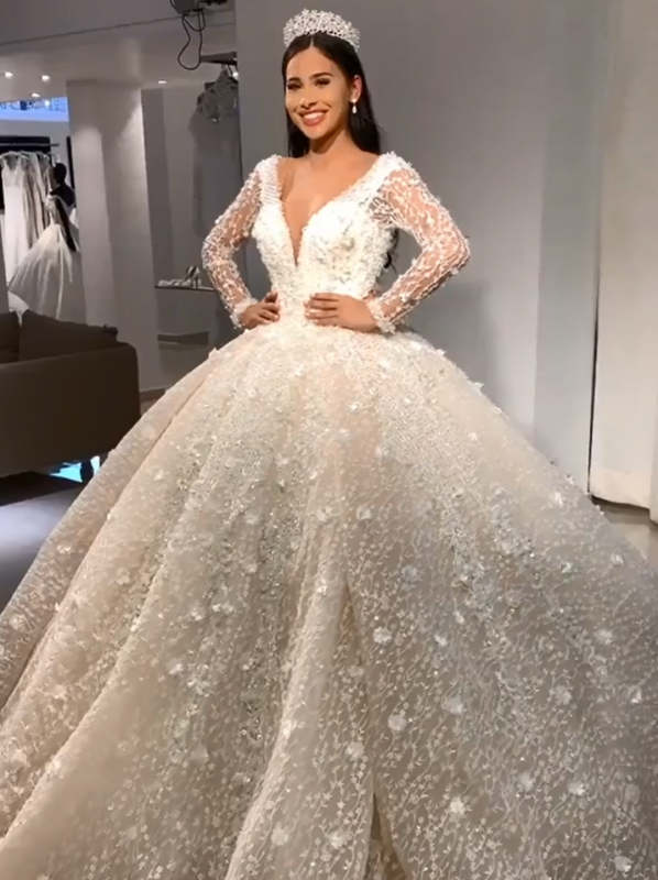 Luxury Beading Ball Gown Wedding Dresses | V-Neck Long Sleeves Lace Flower Bridal Gowns BC1729