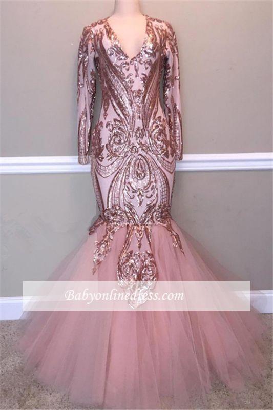 Elegant V-Neck Long-Sleeves Prom Dresses | Sequins Tulle Mermaid Evening Gowns