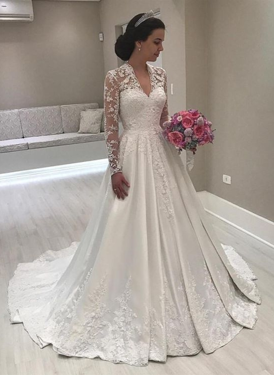 Luxury Lace Puffy Wedding Dresses | V-Neck Long Sleeves A-Line Bridal Gowns