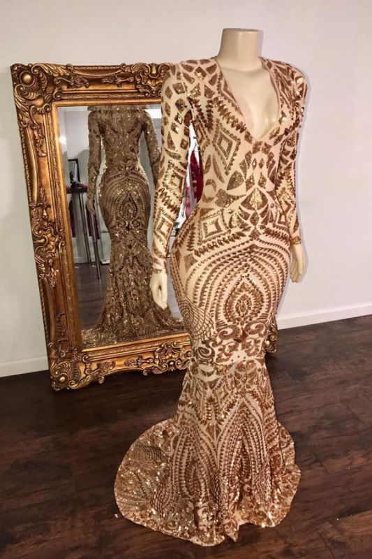 Sexy Deep V Neck Applique Sequin Long-sleeve Sequin Floor Length Mermaid Prom Dresses