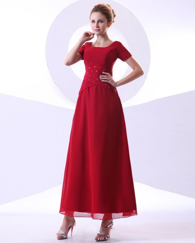 Chiffon Beading Pleated Ruffle Round Neck Ankle Length Mothers of Bride & Guests Dresses