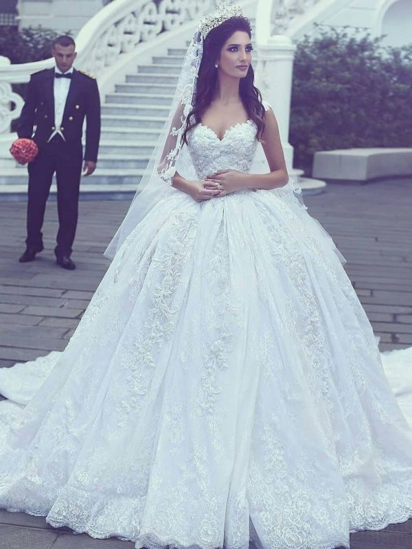 Glamorous Lace Ball Gown Wedding Dresses | Straps Appliques Long Bridal Gowns