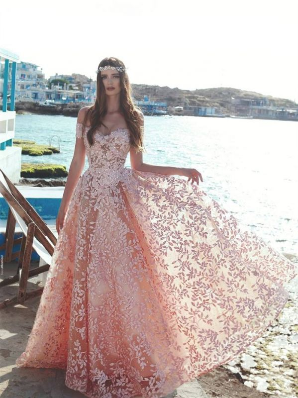 Exquisite Off-The-Shoulder Pink Floral Prom Dresses | Beaded Appliques A-Line Evening Dresses