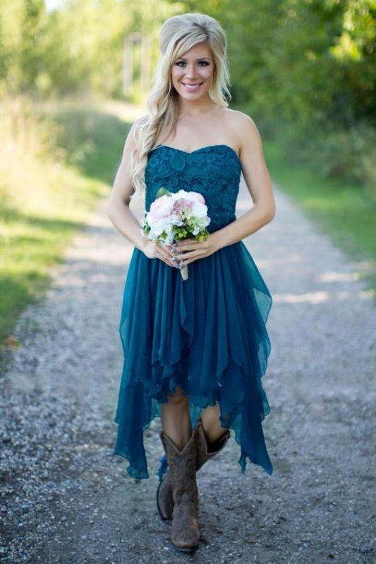 2021 Teal Country Bridesmaid Dresses Lace Top Tiers Chiffon Hi-Lo Party Dresses for Wedding