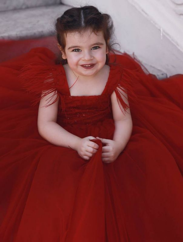 Cute Red Ball Gown Flower Girl Dresses | Scoop Cap Sleeves Kids Pageant Dresses