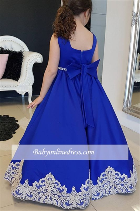 A-Line Straps Appliques Floor-length Flower Royal Blue Girl dresses
