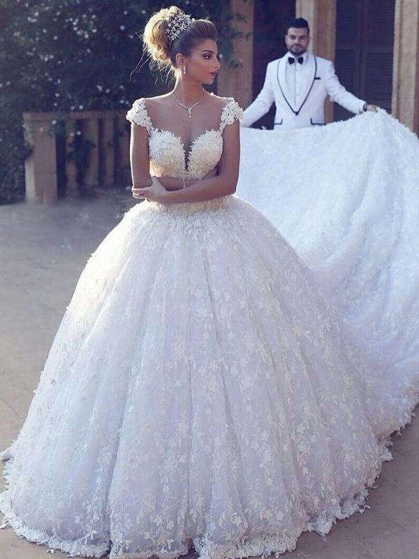 Elegant Straps Ball Gown Wedding Dresses | Sexy Low Cut Lace Bridal Gowns