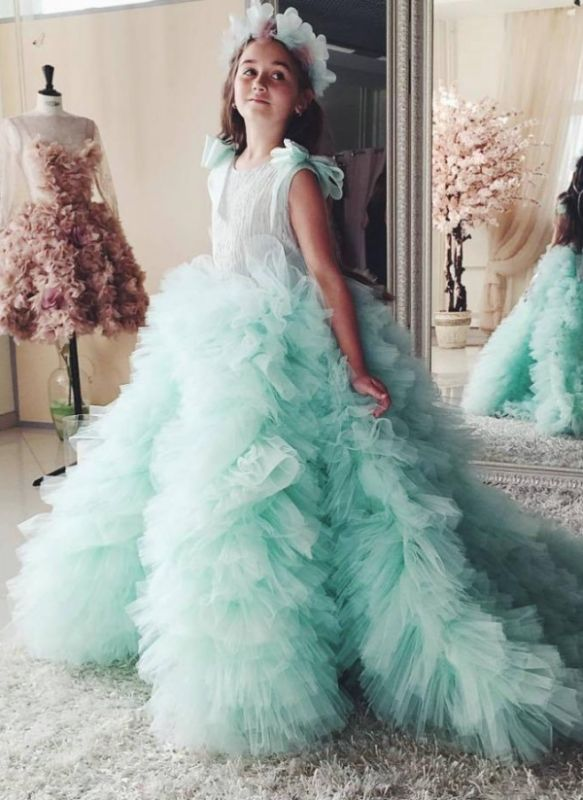 Beautiful Mint Flower Girls Dresses With Ruffles | Puffy First Communion Dresses For Little Girls Bow