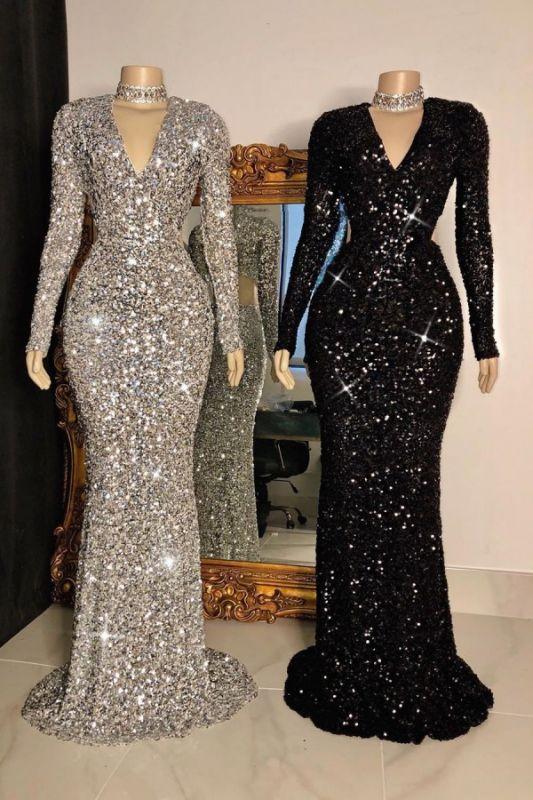 Shinny V Neck Long Sleeve Sequined Mermaid Floor Length Long Prom Dresses BC4158