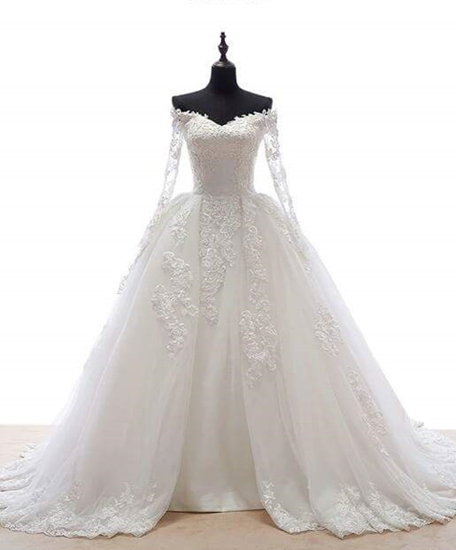Wedding Dresses with Overskirt 2021 Long Sleeves Elegant Off The Shoulder Tulle Bridal Gowns