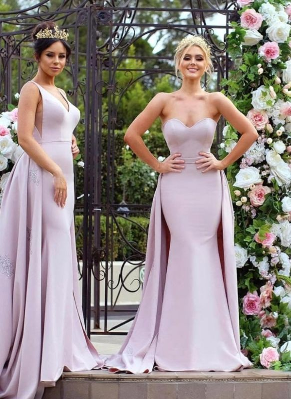 New Mermaid Bridesmaid Dresses   Long Sleeves Wedding Party Dresses with Overskirt