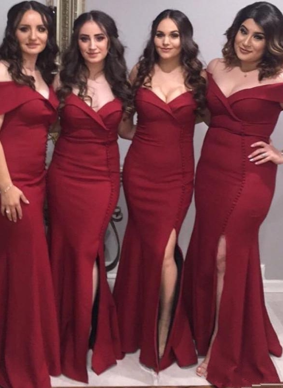 Elegant Burgundy Mermaid Bridesmaid Dresses | Off The Shoulder Silt Maid Of The Honor Dresses