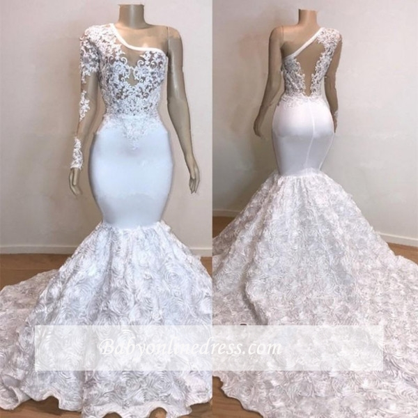 Charming One-Shoulder Long Sleeves Prom Dresses   Mermaid White Lace Evening Gowns