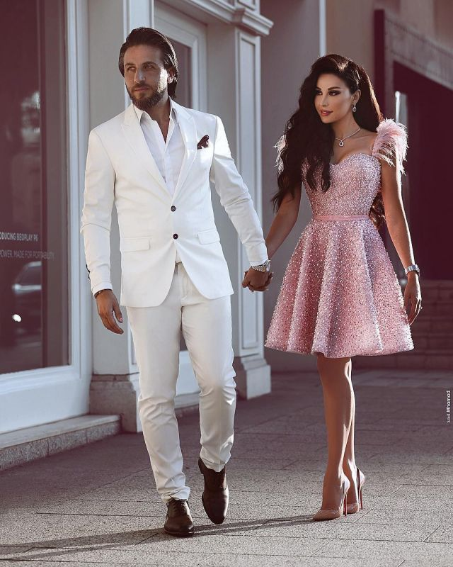 Pink Beading A-Line Homecoming Dress | Luxury Feather Short Party Dress BC0668