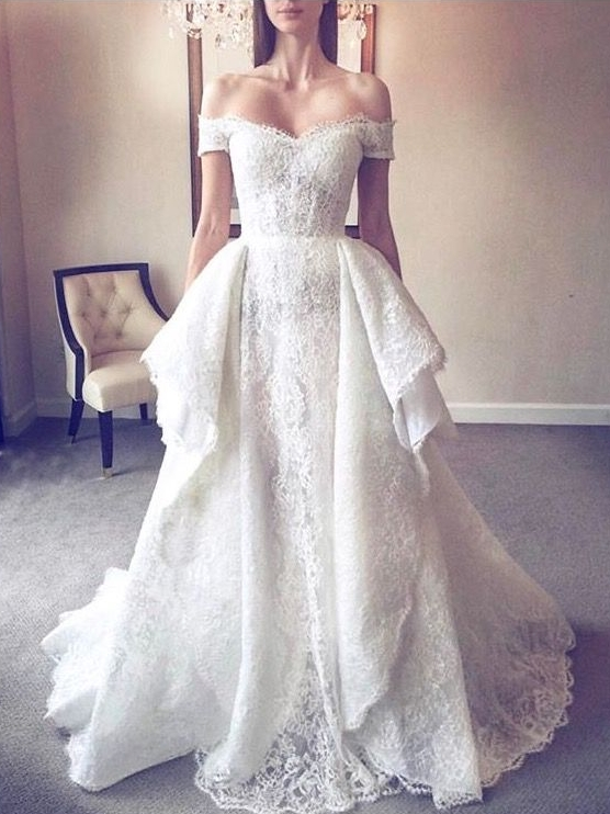 Elegant Lace A-Line Wedding Dresses | Off-The-Shoulder Overskirt Long Bridal Gowns