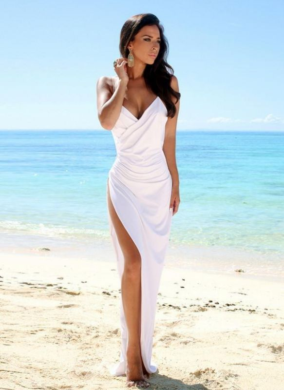 2021 Sexy Summer Wedding Dresses Spaghettis Straps High Side Slit Backless Beach Party Dress