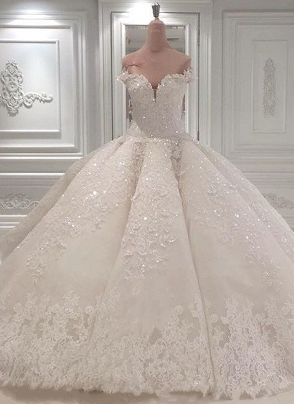 Gorgeous Ball Gown Wedding Dresses | Off-the-Shoulder Lace Beading Bridal Gowns
