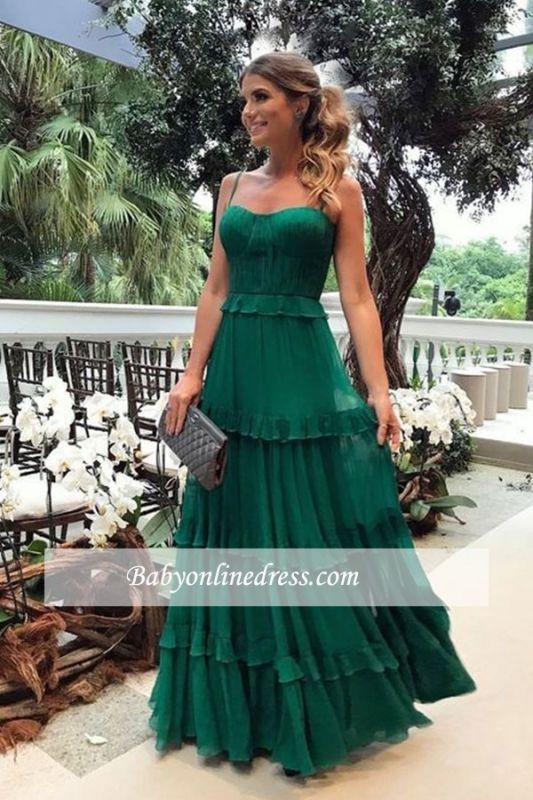 Floor-length Formal Spaghetti-straps Ruffles Green A-line Evening Dress