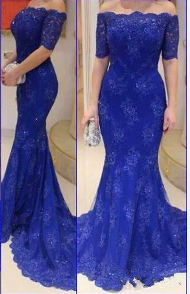 Lace Mermaid Royal Blue Prom Dresses Off-Shoulder Short Sleeves Court Train Evening Gowns
