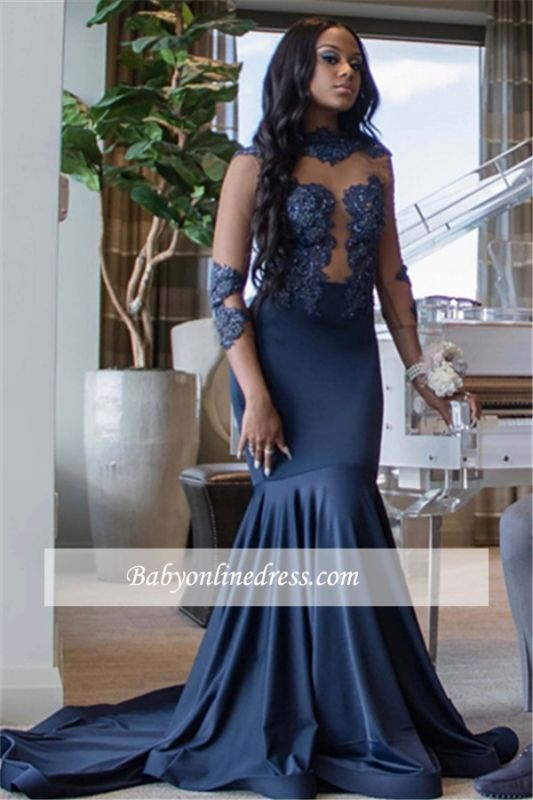 Glamorous High Neck Long Sleeves Prom Dresses | Mermaid Beading Sweep train Evening Gowns