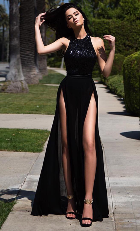 2021 Black Long Prom Dresses Thigh-High Slits Sexy Summer Party Gowns