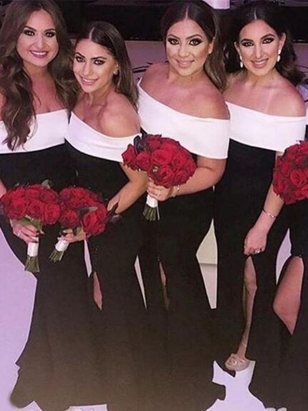 Black And White Mermaid Bridesmaid Dresses | Off The Shoulder Long Wedding Party Dresses