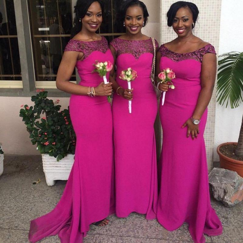 Fuchsia Mermaid Bridesmaid Dresses | Capped Sleeves Maid of The Honor Dress