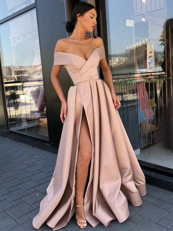 Fashion Off The Shoulder A-Line Evening Dresses | Side Slit Long Simple Prom Dresses