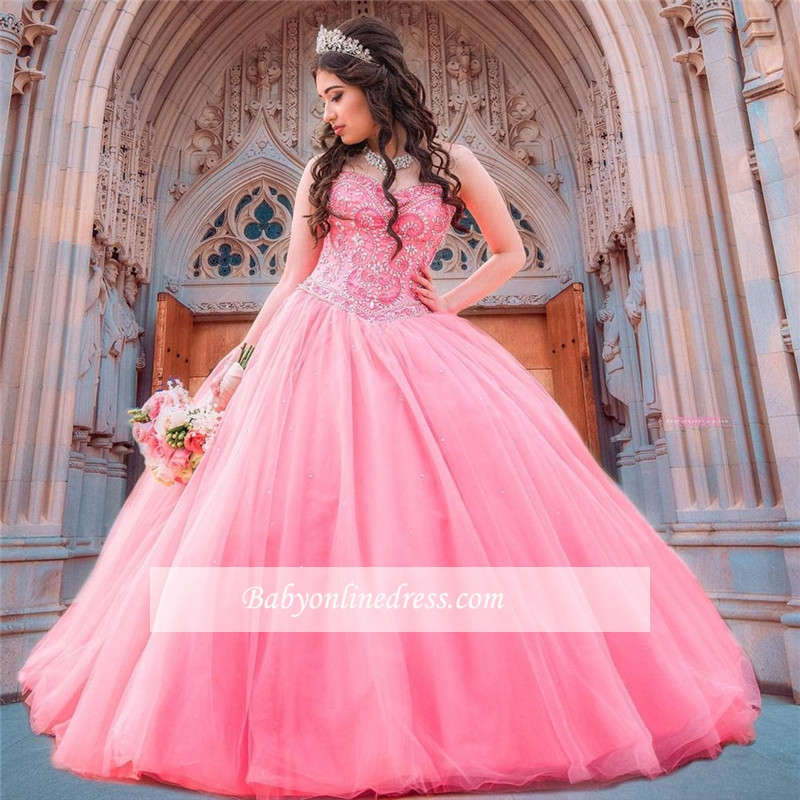 Wonderful Ball-Gown Beaded Sweetheart Quince Dresses
