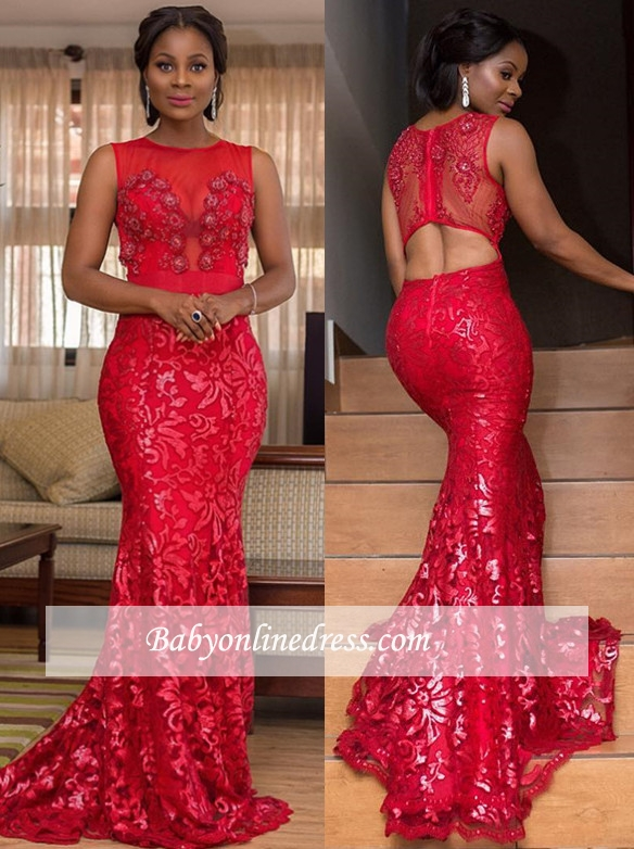 Sexy Crew Sleeveless Prom Dresses   Red Mermaid Appliques Evening Gowns