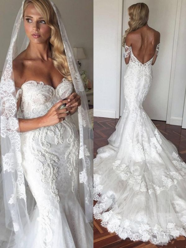 Sexy Mermaid Lace Wedding Dresses | Off-The-Shoulder Short Sleeves Beaded Long Bridal Gowns