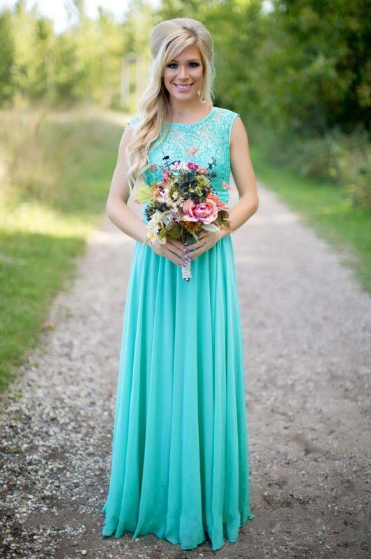 2021 Sea Blue Bridesmaid Dresses Lace Chiffon Elegant Long Maid of the Honor Dresses