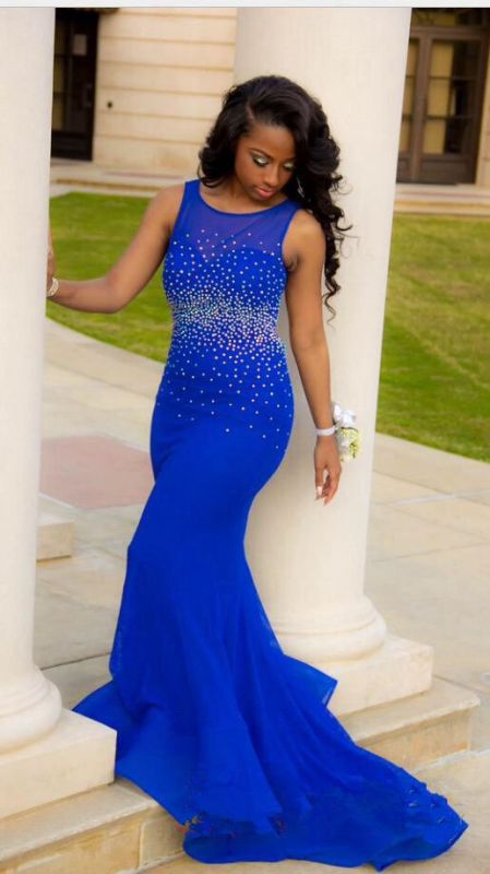 2021 Royal Blue Mermaid Prom Dresses Open Back Beaded Ruffles Train Long Sexy Evening Gowns