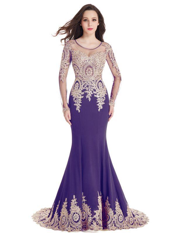 Elegant Lace Appliques Mermaid Prom Dresses | Sheer Neck Long Sleeves Evening Dresses BM0113