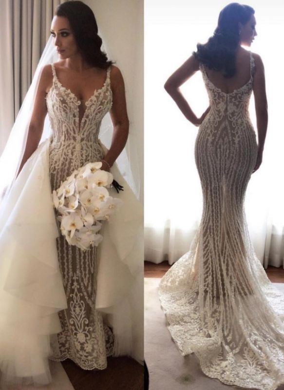Sexy Lace Mermaid Wedding Dresses   Spaghetti Straps Bridal Gowns with Detachable Skirt