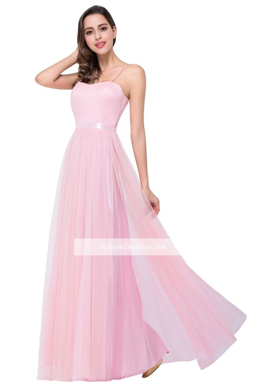 Simple Pink Spaghetti-Straps Open-Back Ruffles A-Line Evening Dress