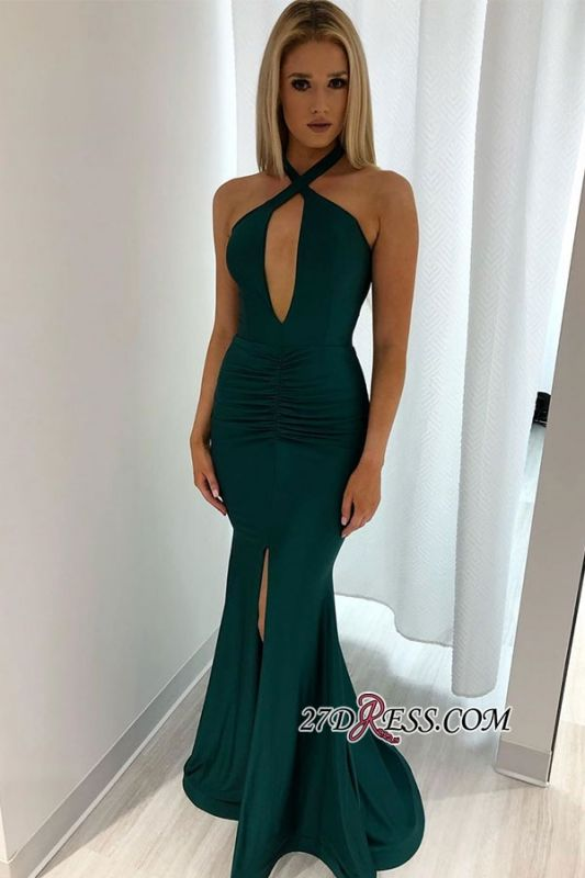 Sexy Backless Halter Slit Mermaid Evening Dresses