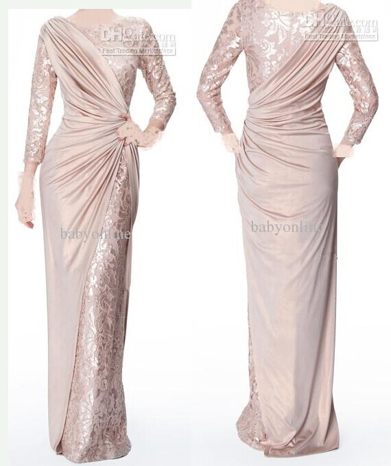 Sexy Long Sleeves Chiffon Lace Pearl Pink Ruffle Evening Dresses Mother of the Bride Dress