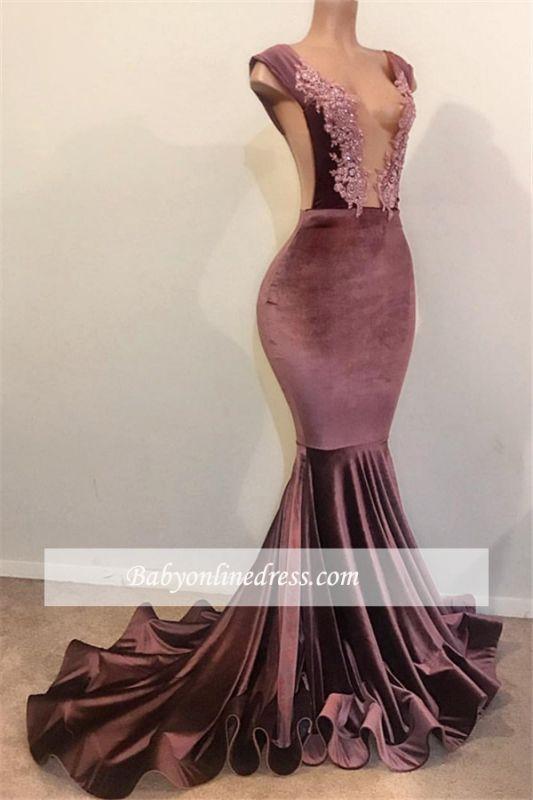 Sexy Sleeveless V-Neck Prom Dresses |  Appliques Velvet Mermaid Evening Gowns BC1516