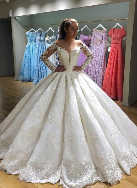 Gorgeous Ball Gown Wedding Dresses | Long Sleeves Lace Appliques Bridal Gowns