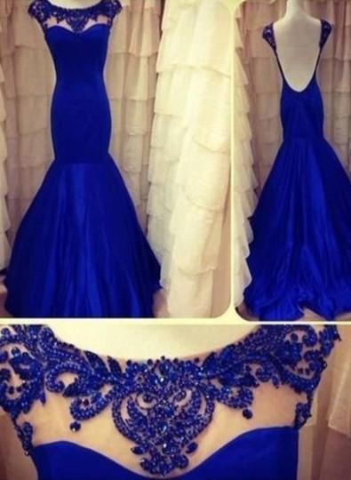 2021 royal Blue Evening Dresses Jewel Backless Sleeveless Lace Sheer Mermaid Taffeta Ruffles Appliques Flowers Prom Gown