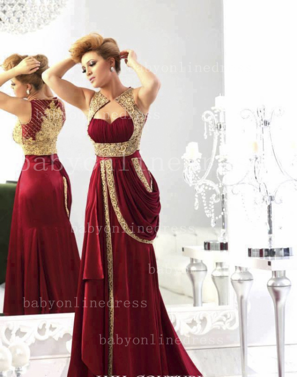 Wholesale 2021 Arabic Evening Dresses Sexy Sweetheart Satin burgundy Gold Embroidery Crystals Dresses for Prom