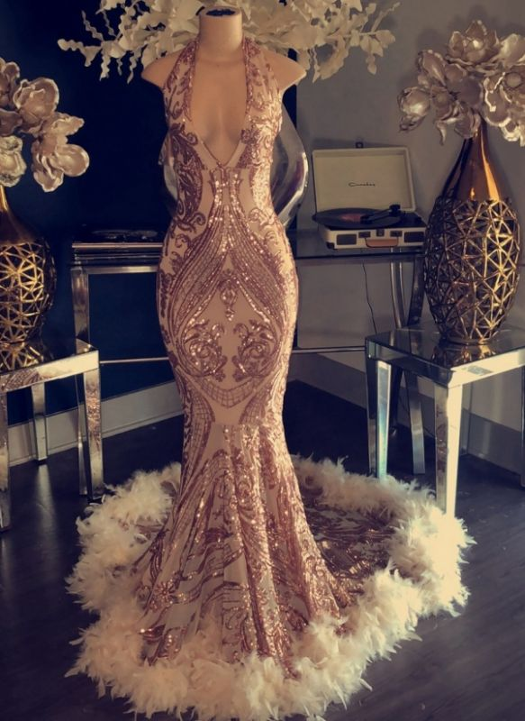 Sexy Champagne Feather Prom Dresses | Halter Neck Appliques Mermaid Evening Gowns