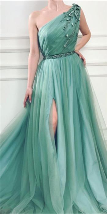 Elegant One Shoulder Tulle Prom Dresses | Ruffles Cheap Sashes Split Evening Dresses