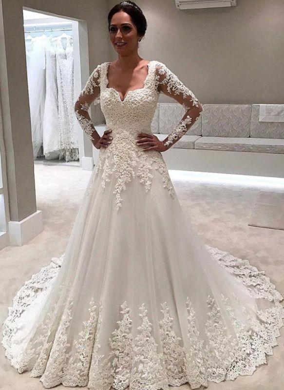Elegant Lace A-line Wedding Dresses | Square Neckline Long Sleeves Bridal Gowns