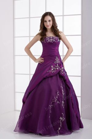 2021 Wholesale Inexpensive Elegant Quinceanera Dresses Strapless Embroidery A-Line Dresses DH4253