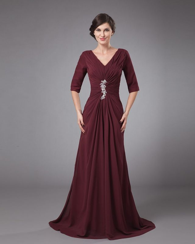 Chiffon Pleated Ruffle V Neck Floor Length Mothers of Bride & Guests Dress