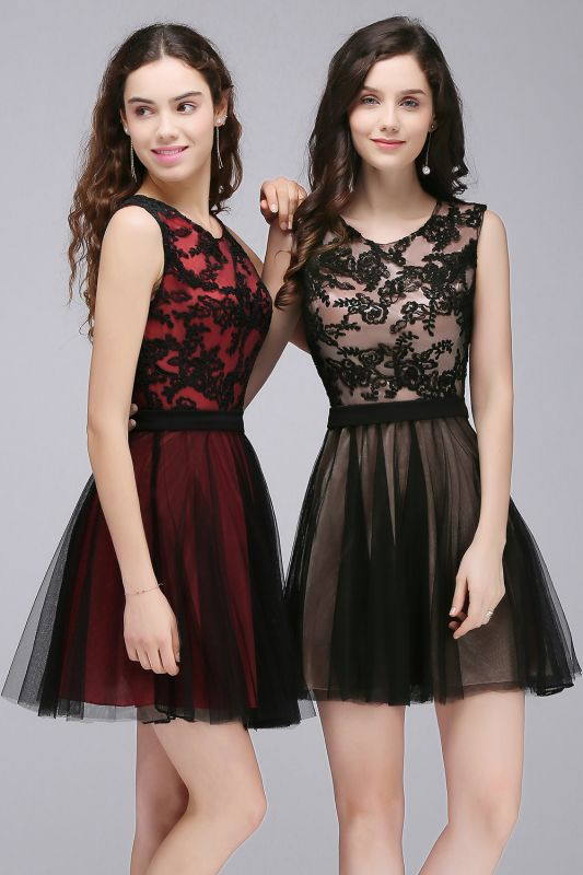 Chic Short A-Line Homecoming Dresses | Scoop Sleeveless Lace Appliques Short Cocktail Dresses BM0132