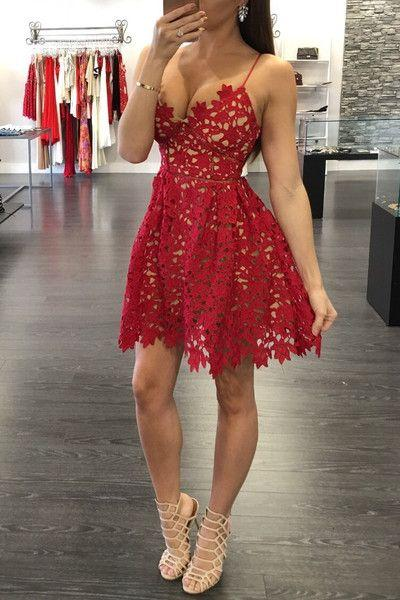 Sexy A-Line Red Lace Homecoming Dresses 2021 Spaghetti Straps Party Gowns